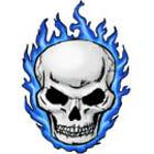 Blue Flaming Skull Tattoo Flash