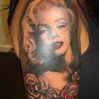 Marilyn Monroe with Roses Tattoo