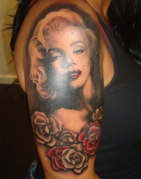 Marilyn Monroe with Roses Tattoo Marilyn Monroe with Roses Tattoo