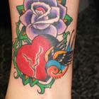 Purple Rose, Bird and Broken Heart Tattoo