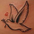 Dove with Olive Branch and Heart Tattoo