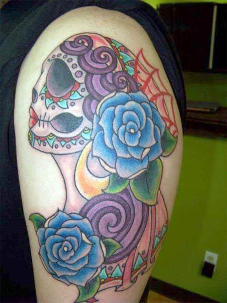 mexican sugar skull maiden Mexican Sugar Skull Maiden Tattoo