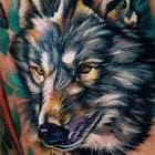 Painterly Wolf Head Tattoo