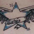 Sisters Star with Wings Tattoo