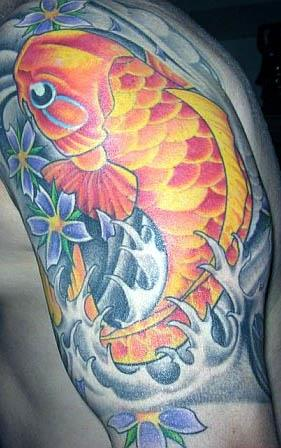 With a foo dog on one side a peony on another and koi and floral sleeves