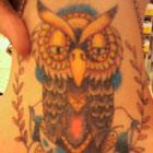 Owl &#038; Blue Rose Neck Tattoo