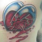 Broken Leaking Glass Heart Tattoo