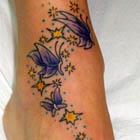 Purple Butterflies and Yellow Stars Foot Tattoo