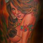 Sexy Hula Girl Pinup Tattoo