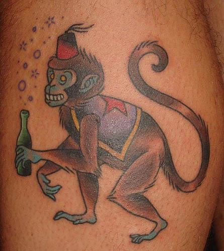 drunk circus monkey tattoo A Sobering Look At Booze Tattoos
