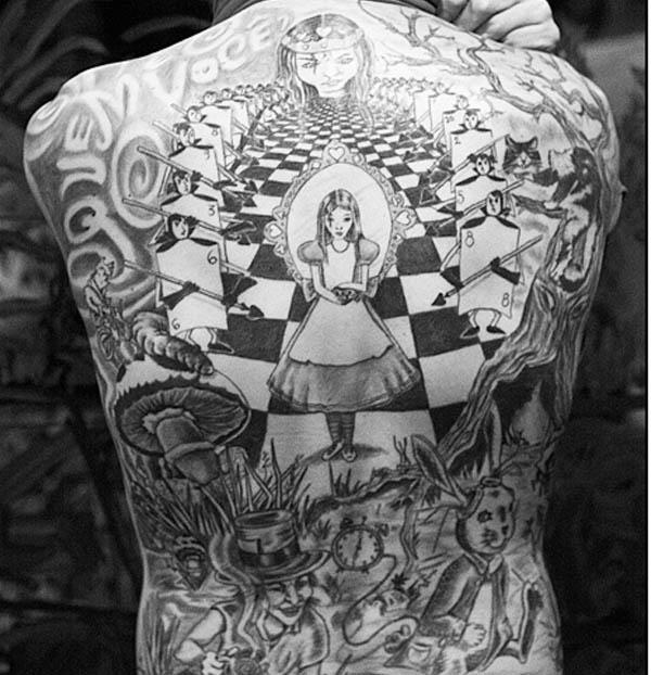 original alice in wonderland black back piece Ink in Wonderland: 25 Mad Alice in Wonderland Tattoos