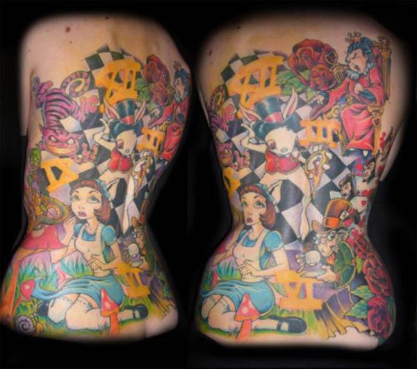 original colorful alice in wonderland backpiece Ink in Wonderland: 25 Mad Alice in Wonderland Tattoos
