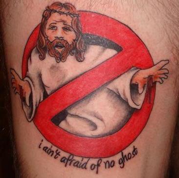 Eu não tenho medo de nenhum fantasma jesus tatuagem OMG!  Tatuagens WTF Jesus