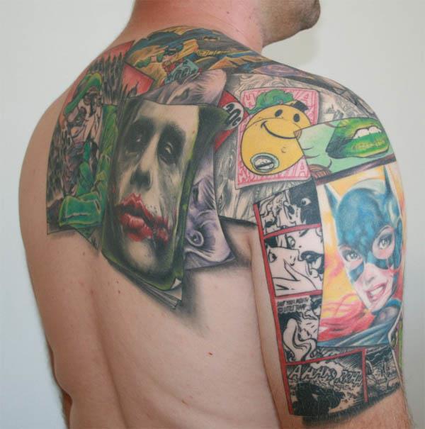 batman collage tattoo Batman Collage Tattoo