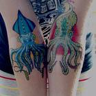 Blue Squid and Green Octopus Tattoos