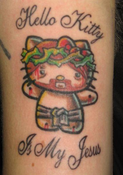 Olá Kitty jesus tatuagem OMG!  Tatuagens WTF Jesus