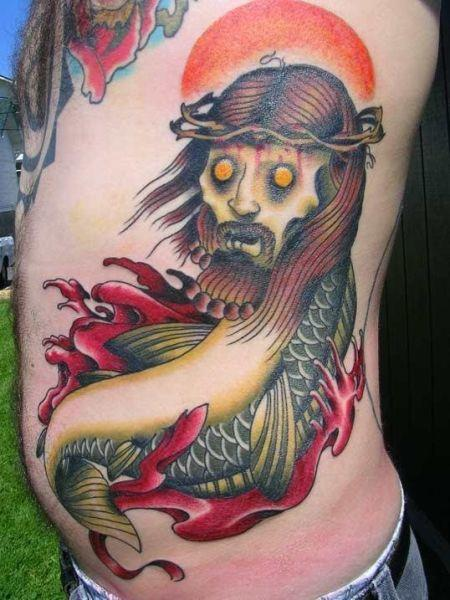 zombie jesus fish tattoo OMG! WTF Jesus Tattoos