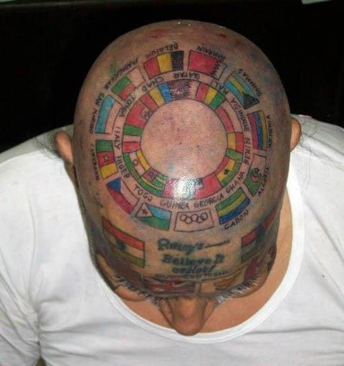 Man Tattoos 220 Flags on His Body Man Tattoos 220 Flags on His Body