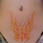 Fiery Orange Tribal Butterfly Tattoo