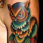 Owl Perched on Antler Tattoo