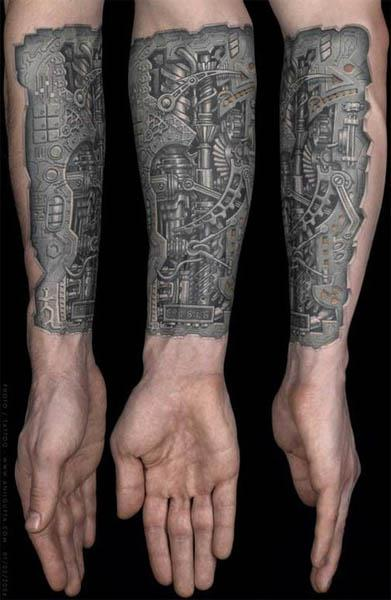 silver biomech cutaway tattoo Silver Biomech Cutaway Tattoo